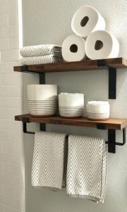 15 Models Bathroom Shelf With Industrial Farmhouse Towel Bar 02