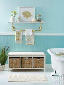 15 Models Bathroom Shelf With Industrial Farmhouse Towel Bar 09