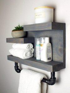 15 Models Bathroom Shelf With Industrial Farmhouse Towel Bar 12