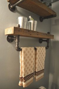 15 Models Bathroom Shelf With Industrial Farmhouse Towel Bar 20