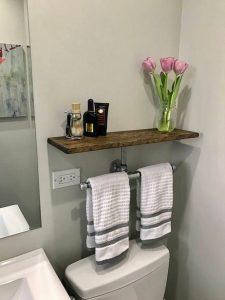 15 Models Bathroom Shelf With Industrial Farmhouse Towel Bar 21