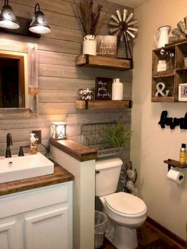 16 Kinds Of Farmhouse Bathroom Accessories Ideas 02